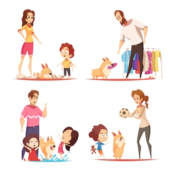 Família com cachorro favorito durante jogador, ilustração