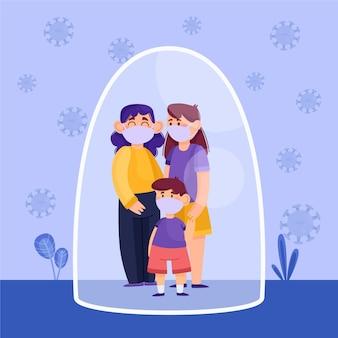 Família com criança protegida contra o vírus