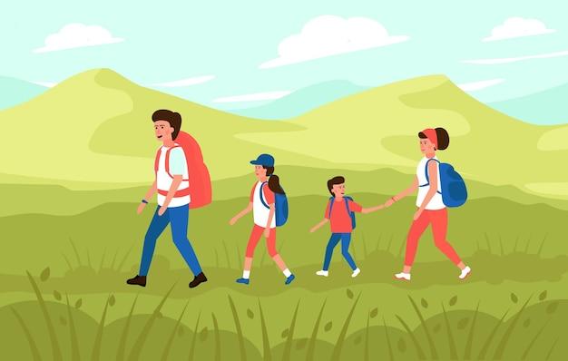 Família com crianças, caminhadas nas montanhas.