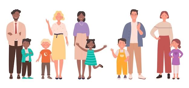 Família com crianças conjunto de ilustração.