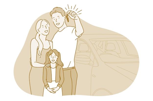 Família com filha em pé, todos juntos, segurando as chaves do carro