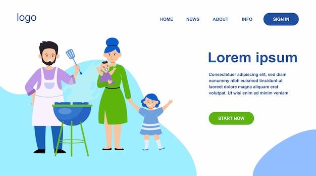 Família com filhos assando churrasco ao ar livre