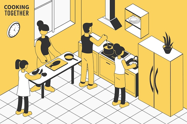 Família com filhos cozinhando o almoço juntos na cozinha isométrica