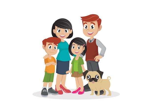 Família com filhos.