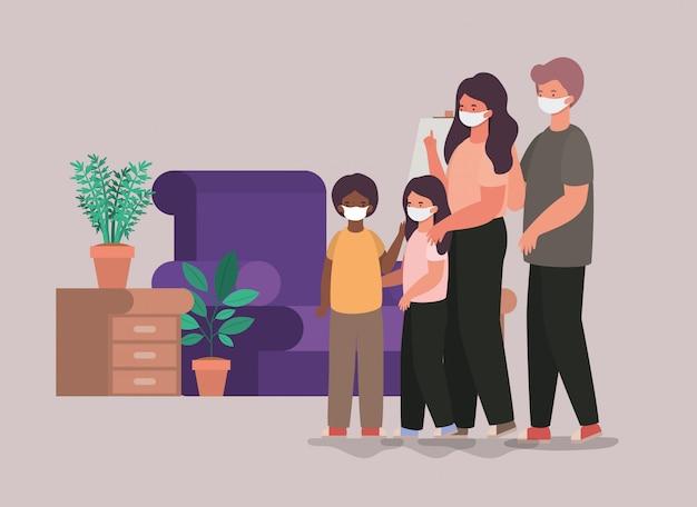 Família com máscaras em casa design