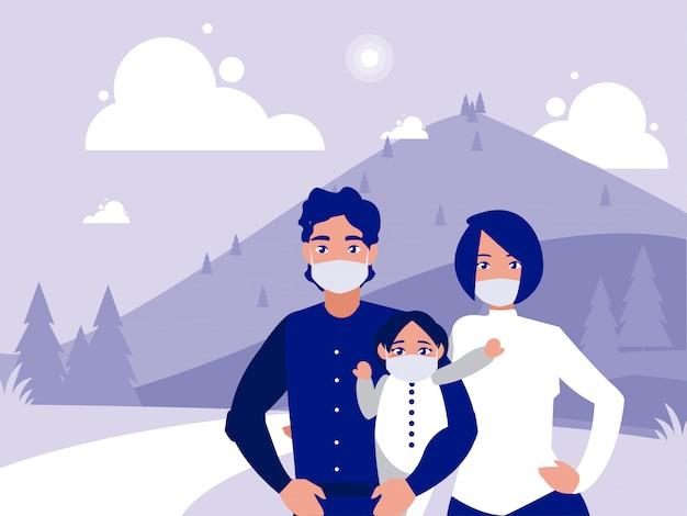 Família com máscaras na frente da paisagem