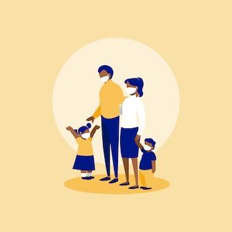 Família com máscaras na frente do círculo
