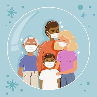 Família com máscaras protegidas contra vírus