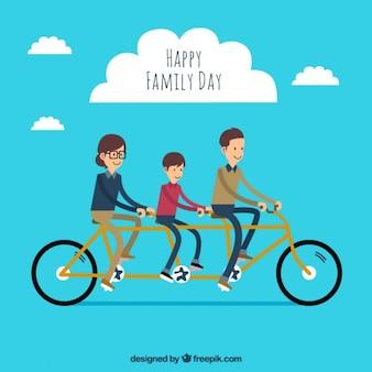 Família com uma bicicleta