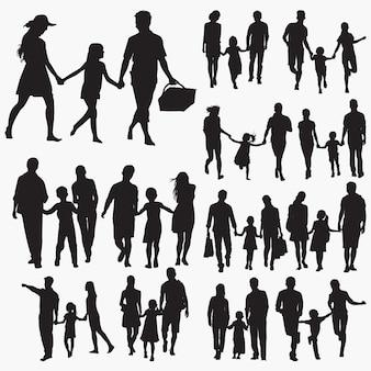 Família, com, uma criança, silhuetas