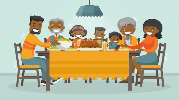 Família comemorando o cartão de feriado de ação de graças.