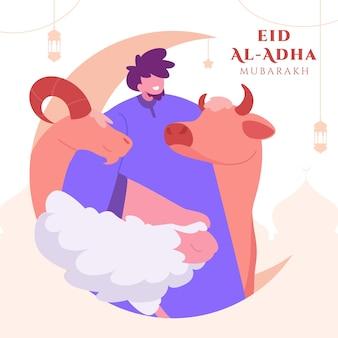 Família comemorando o fundo de eid al adha mubarak com ovelhas e lua crescente como cartão de felicitações