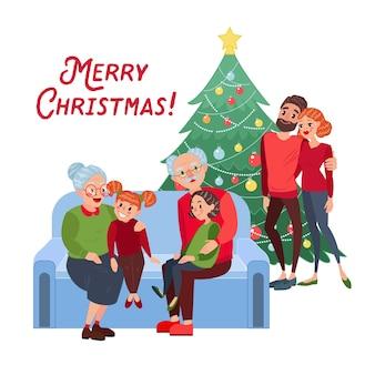 Família comemorando o natal