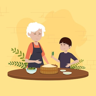 Família comendo e preparando zongzi
