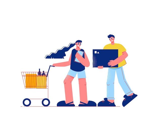 Família compra plana composição com personagens de homem segurando caixa e mulher com carrinho carrinho