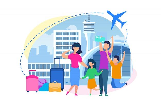 Família comprando bilhetes no vetor plana de aeroporto