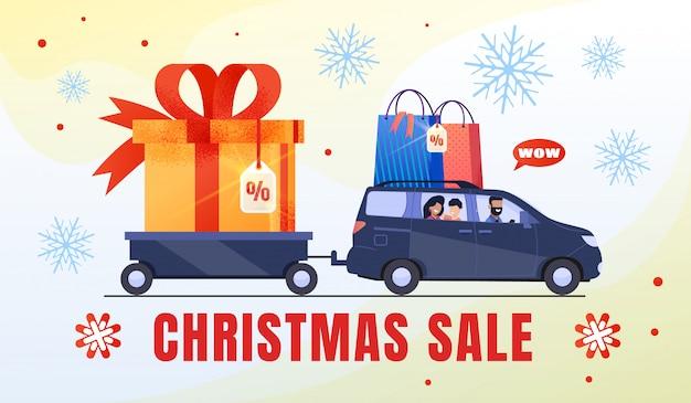 Família compras no banner de venda de natal