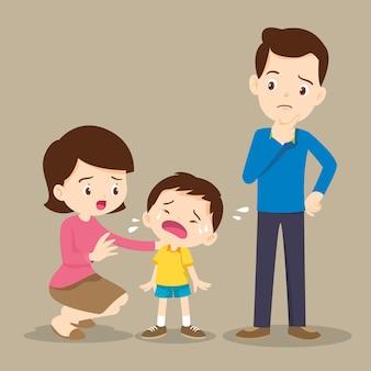 Família, confortando, menino chorão