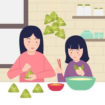 Família cozinhando juntos zongzi