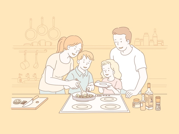 Família cozinhando na cozinha na ilustração do estilo de linha