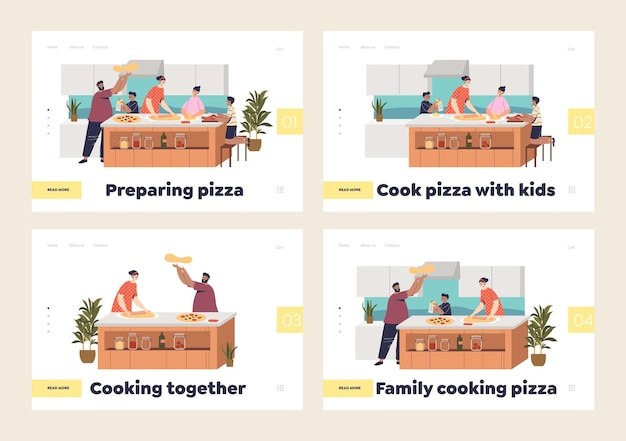 Família cozinhando pizza em casa. páginas de destino com pais e filhos de desenhos animados