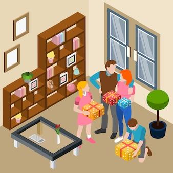 Família dando caixas de presente em casa