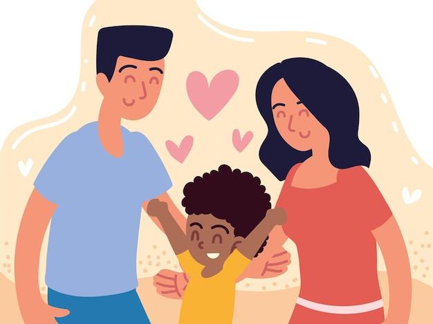 Família de adoção com menino