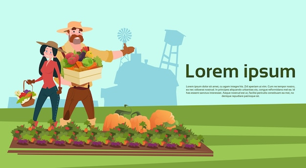 Família de agricultores cultivando legumes