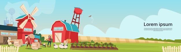 Família de agricultores moinho de trigo