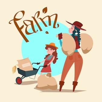Família de agricultores segurar saco de trigo