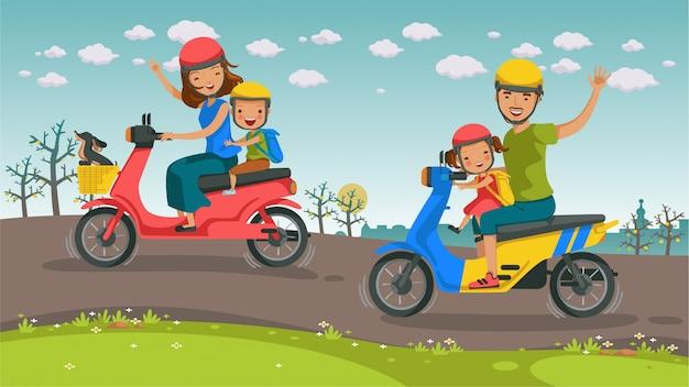 Família de asiáticos de viagens de moto.
