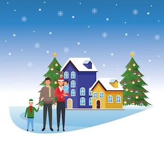 Família de avatar com crianças sobre casas e árvores de natal