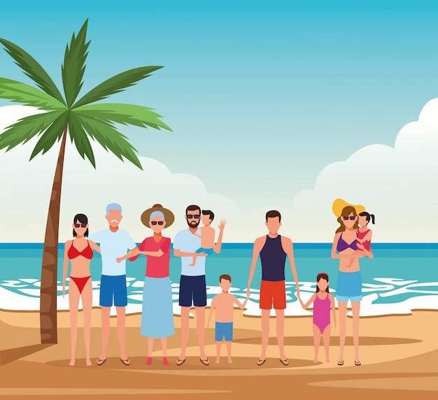 Família de avatar com filhos e avós, aproveitando as férias de verão na praia