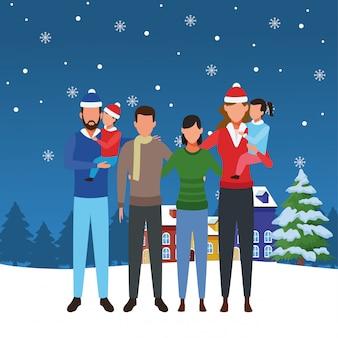 Família de avatar e amigos, ilustração feliz natal