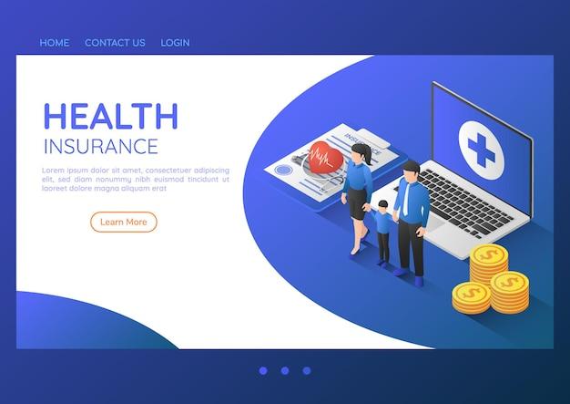 Família de banner 3d isométrica da web em pé com estetoscópio no documento de seguro de saúde e laptop. conceito de página inicial de seguro de saúde e cuidados de saúde familiar.