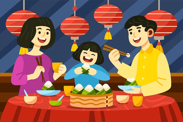 Família de barco dragão desenho animado preparando e comendo ilustração de zongzi