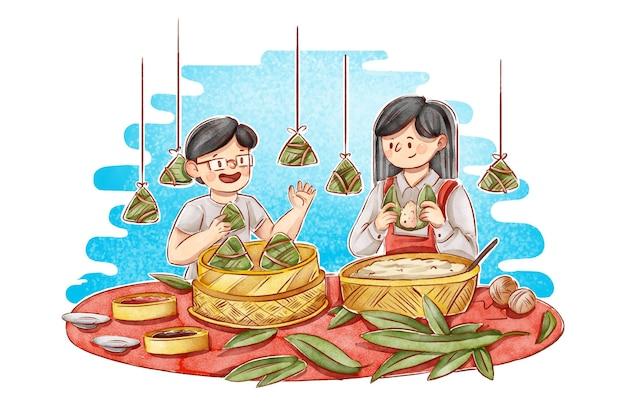 Família de barcos de dragão em aquarela de pintados à mão preparando e comendo ilustração de zongzi