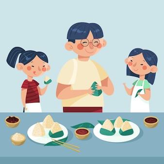 Família de barcos de dragão plano orgânico preparando e comendo ilustração de zongzi