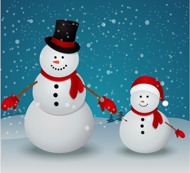 Família de boneco de neve na cena de inverno