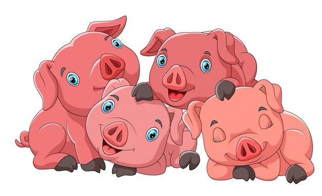 Família de bonito dos desenhos animados de porco