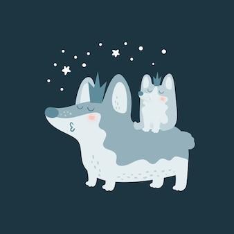 Família de cachorro bonito dos desenhos animados