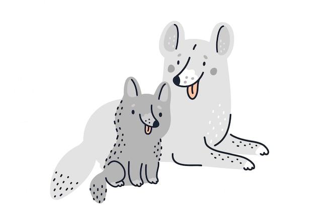 Família de cães fofos. cão mãe e filhote de cachorro engraçado dos desenhos animados ilustração