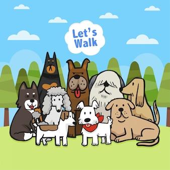 Família de cão de desenho de mão