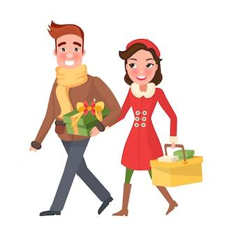 Família de casal feliz natal, compras com pacotes