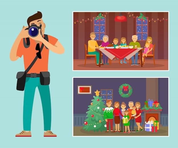 Família de celebração do feriado de natal por árvore