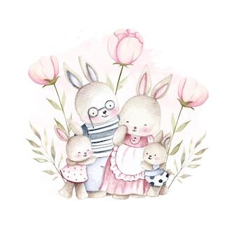 Família de coelho aquarela