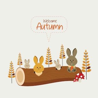 Família de coelho de outono
