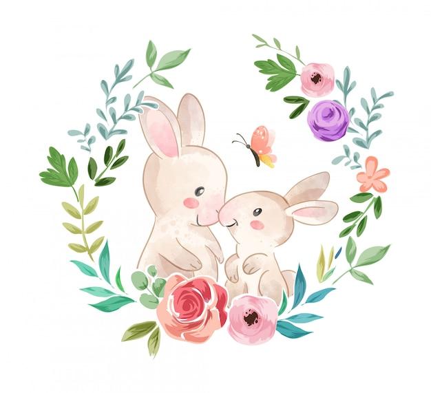 Família de coelho fofo na ilustração de grinalda de flores