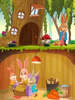 Família de coelho no subsolo com a superfície do solo da cena do jardim