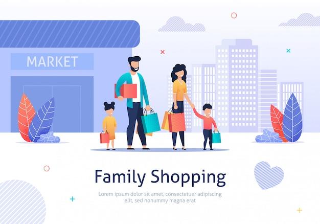 Família de compras com pacotes, caixas perto do mercado.